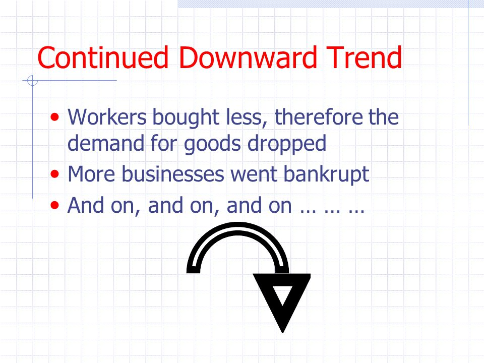 Continued Downward Trend Workers bought less, therefore the demand for goods dropped More businesses went bankrupt And on, and on, and on … … …