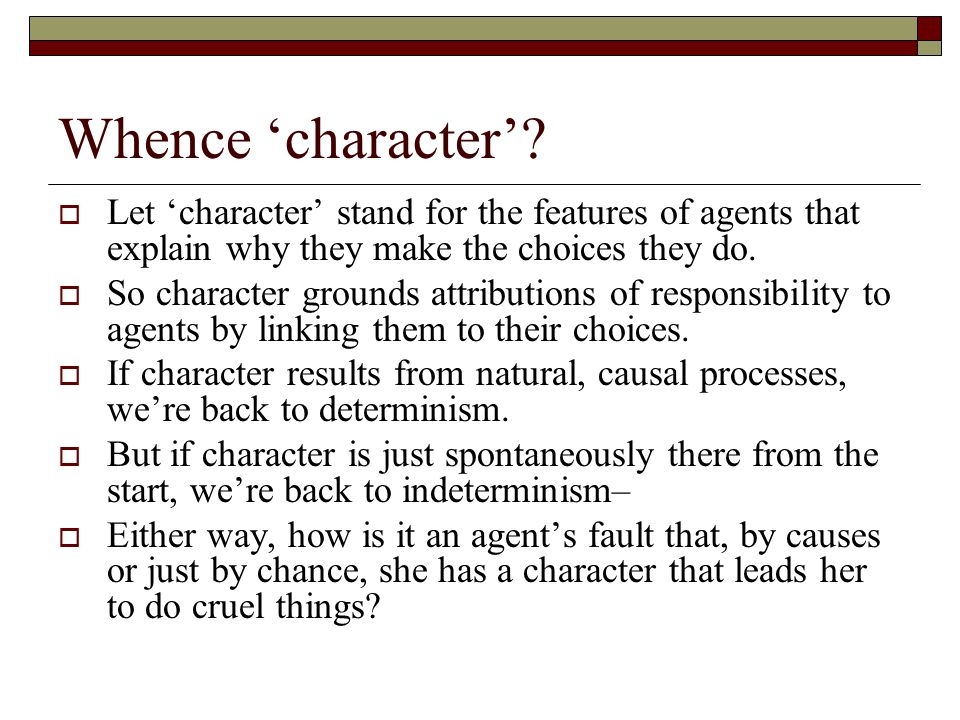 Whence 'character'.