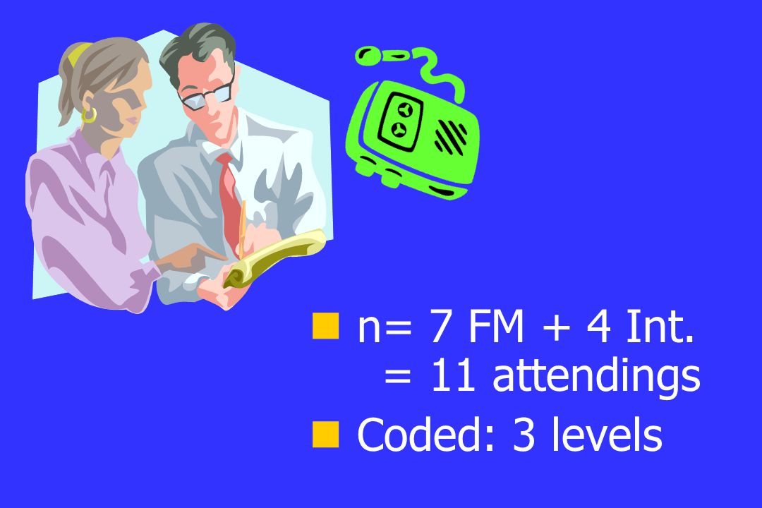n= 7 FM + 4 Int. = 11 attendings Coded: 3 levels
