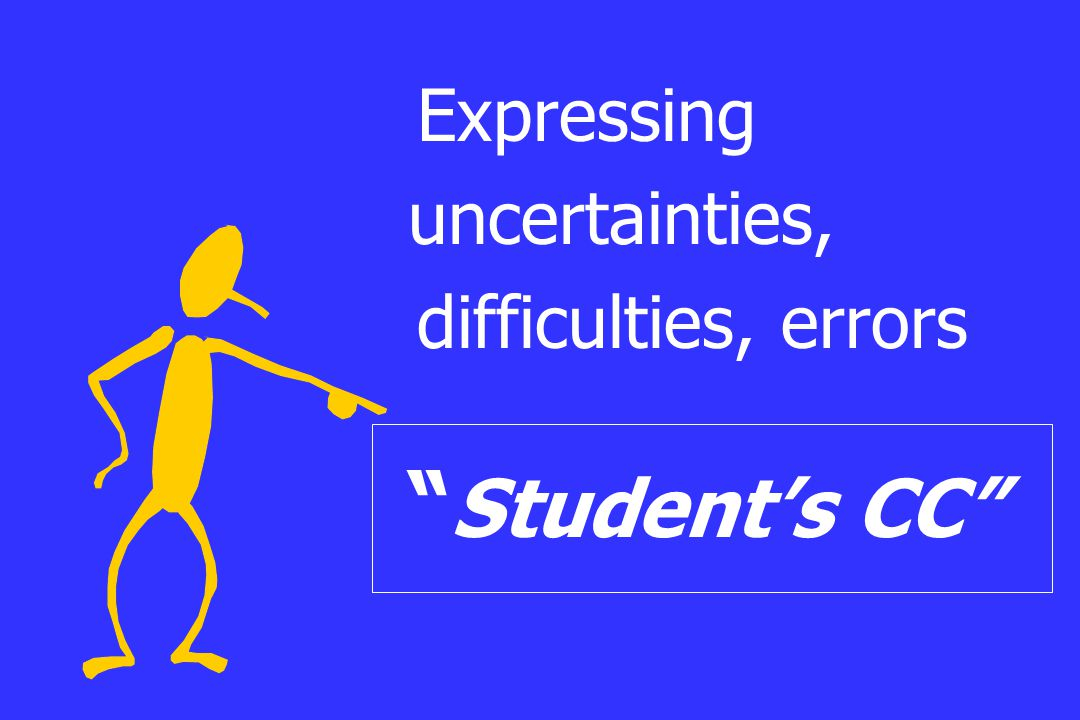 """Expressing uncertainties, difficulties, errors """" Student's CC"""""""