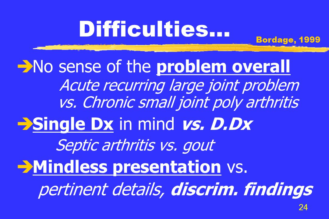 24 Difficulties… è No sense of the problem overall Acute recurring large joint problem vs.