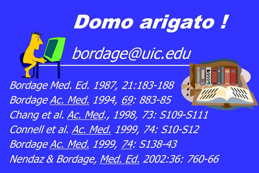 Domo arigato .bordage@uic.edu Bordage Med. Ed. 1987, 21:183-188 Bordage Ac.