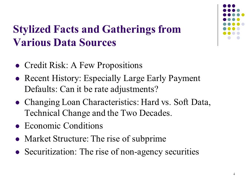 Stylized Facts and Gatherings from Various Data Sources Credit Risk: A Few Propositions Recent History: Especially Large Early Payment Defaults: Can it be rate adjustments.