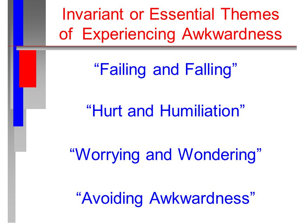 Invariant or Essential Themes of Experiencing Awkwardness Failing and Falling Hurt and Humiliation Worrying and Wondering Avoiding Awkwardness