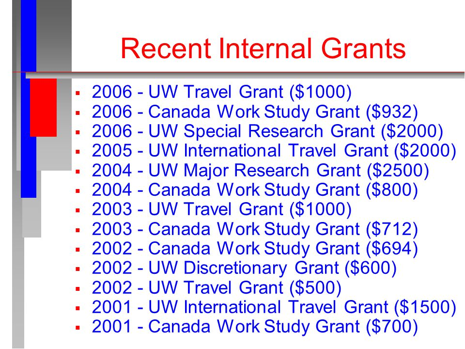 Recent Internal Grants  2006 - UW Travel Grant ($1000)  2006 - Canada Work Study Grant ($932)  2006 - UW Special Research Grant ($2000)  2005 - UW International Travel Grant ($2000)  2004 - UW Major Research Grant ($2500)  2004 - Canada Work Study Grant ($800)  2003 - UW Travel Grant ($1000)  2003 - Canada Work Study Grant ($712)  2002 - Canada Work Study Grant ($694)  2002 - UW Discretionary Grant ($600)  2002 - UW Travel Grant ($500)  2001 - UW International Travel Grant ($1500)  2001 - Canada Work Study Grant ($700)