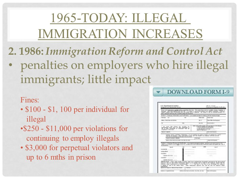 1965-TODAY: ILLEGAL IMMIGRATION INCREASES 1.Illegal Immigrants : enter the U.S.