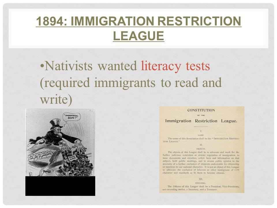 1882: CHINESE EXCLUSION ACT PASSED Stopped Chinese immigration Chinese couldn't become citizens Renewed until WWII