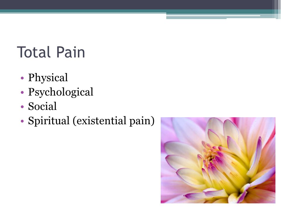 Total Pain Physical Psychological Social Spiritual (existential pain)