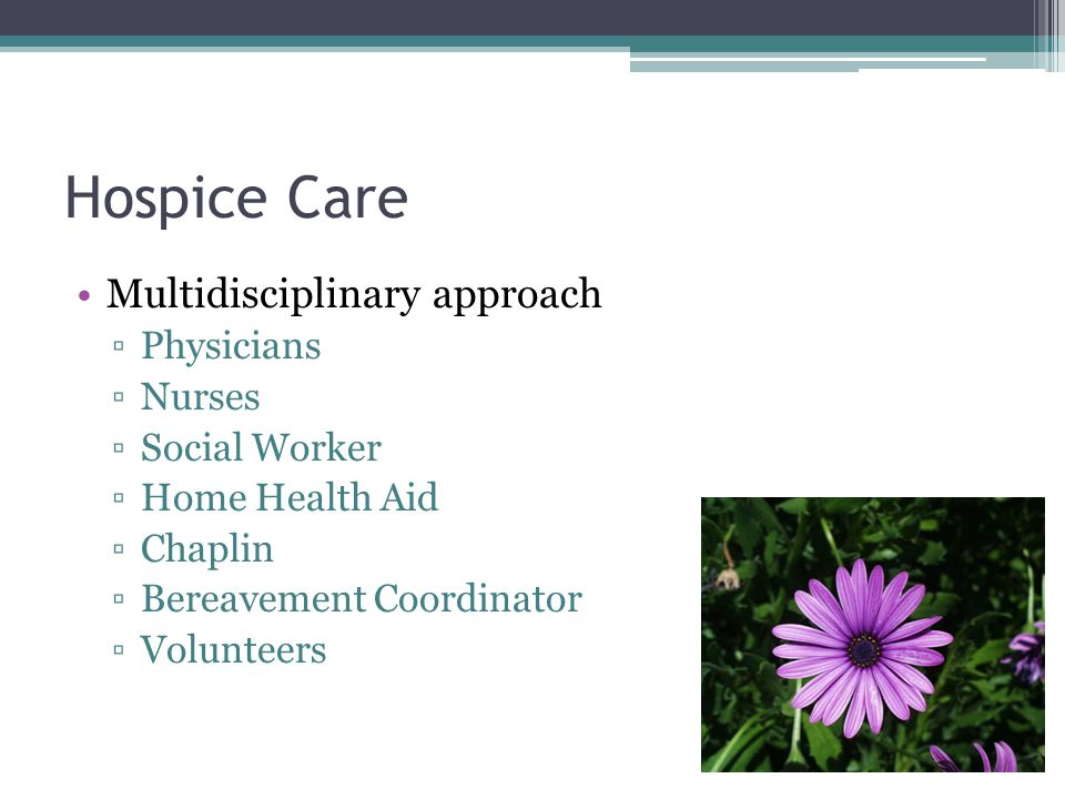 Hospice Care Multidisciplinary approach ▫Physicians ▫Nurses ▫Social Worker ▫Home Health Aid ▫Chaplin ▫Bereavement Coordinator ▫Volunteers