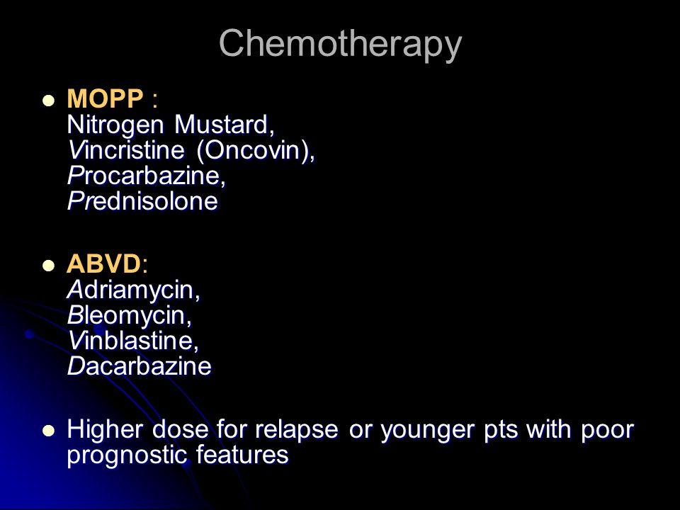 Chemotherapy Nitrogen Mustard, Vincristine (Oncovin), Procarbazine, Prednisolone MOPP : Nitrogen Mustard, Vincristine (Oncovin), Procarbazine, Prednisolone Adriamycin, Bleomycin, Vinblastine, Dacarbazine ABVD: Adriamycin, Bleomycin, Vinblastine, Dacarbazine Higher dose for relapse or younger pts with poor prognostic features Higher dose for relapse or younger pts with poor prognostic features