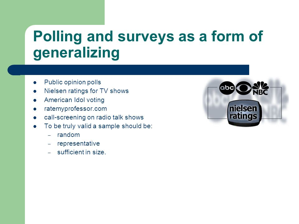 Polling and surveys as a form of generalizing Public opinion polls Nielsen ratings for TV shows American Idol voting ratemyprofessor.com call-screening on radio talk shows To be truly valid a sample should be: – random – representative – sufficient in size.