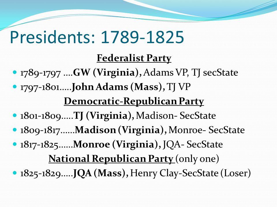 Presidents: 1789-1825 Federalist Party 1789-1797 ….GW (Virginia), Adams VP, TJ secState 1797-1801…..John Adams (Mass), TJ VP Democratic-Republican Party 1801-1809…..TJ (Virginia), Madison- SecState 1809-1817……Madison (Virginia), Monroe- SecState 1817-1825……Monroe (Virginia), JQA- SecState National Republican Party (only one) 1825-1829…..JQA (Mass), Henry Clay-SecState (Loser)
