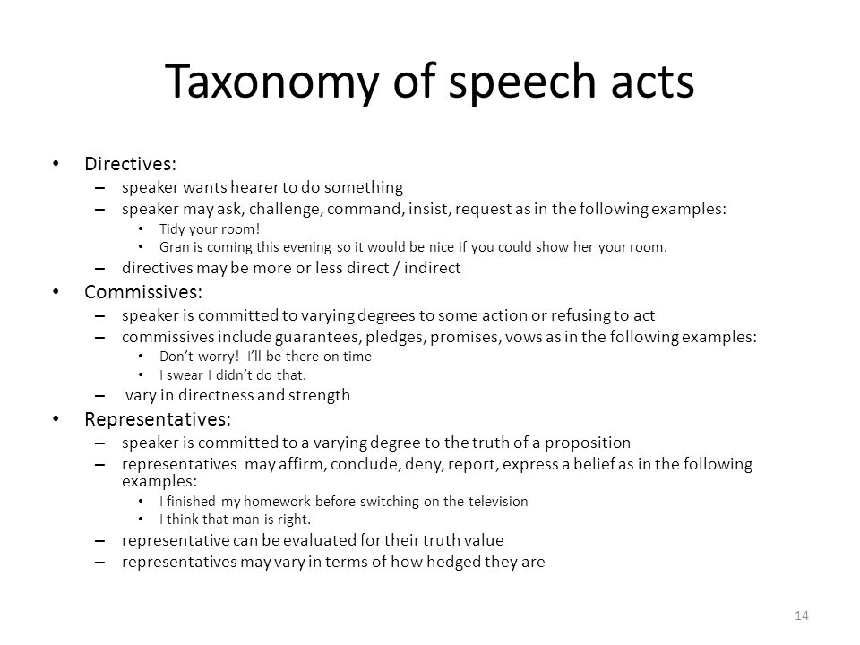 Taxonomy of speech acts Directives: – speaker wants hearer to do something – speaker may ask, challenge, command, insist, request as in the following examples: Tidy your room.