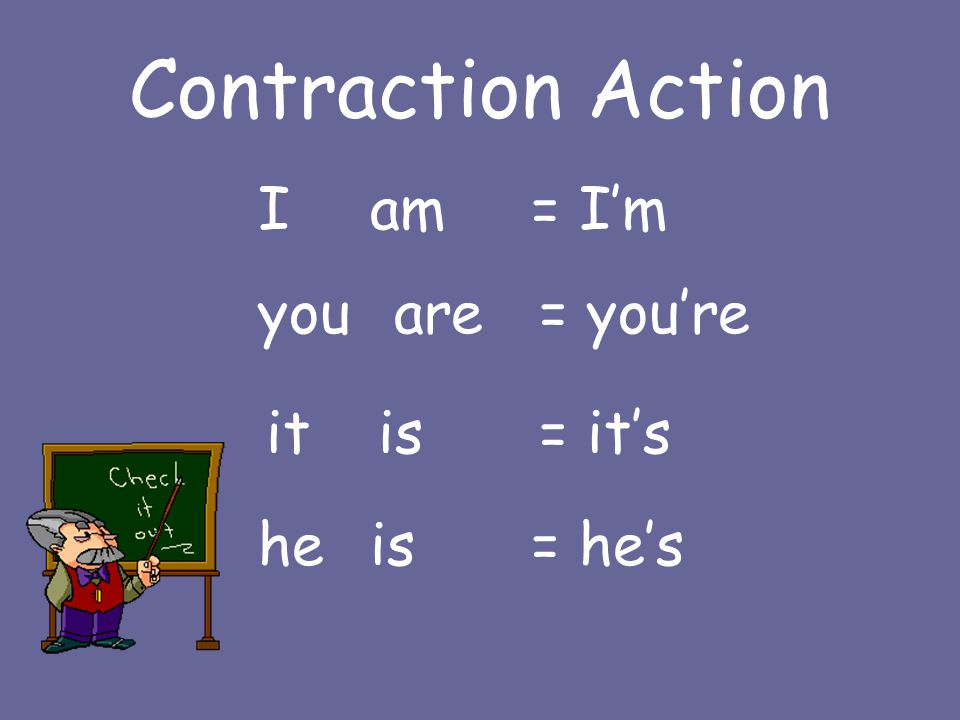 Contraction Action Iam = I'm youare = you're itis = it's heis = he's