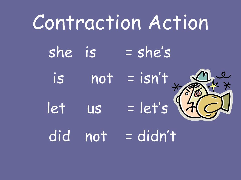Contraction Action sheis = she's isnot = isn't letus = let's didnot = didn't