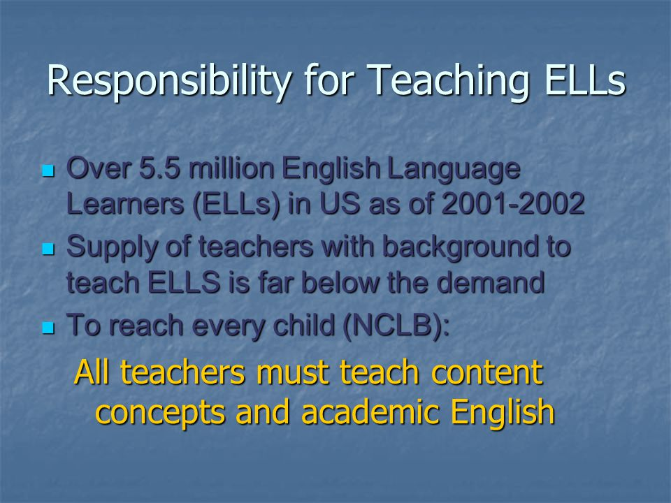 Responsibility for Teaching ELLs Over 5.5 million English Language Learners (ELLs) in US as of 2001-2002 Over 5.5 million English Language Learners (ELLs) in US as of 2001-2002 Supply of teachers with background to teach ELLS is far below the demand Supply of teachers with background to teach ELLS is far below the demand To reach every child (NCLB): To reach every child (NCLB): All teachers must teach content concepts and academic English