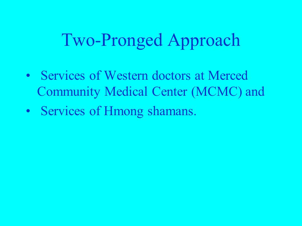 Two-Pronged Approach Services of Western doctors at Merced Community Medical Center (MCMC) and Services of Hmong shamans.