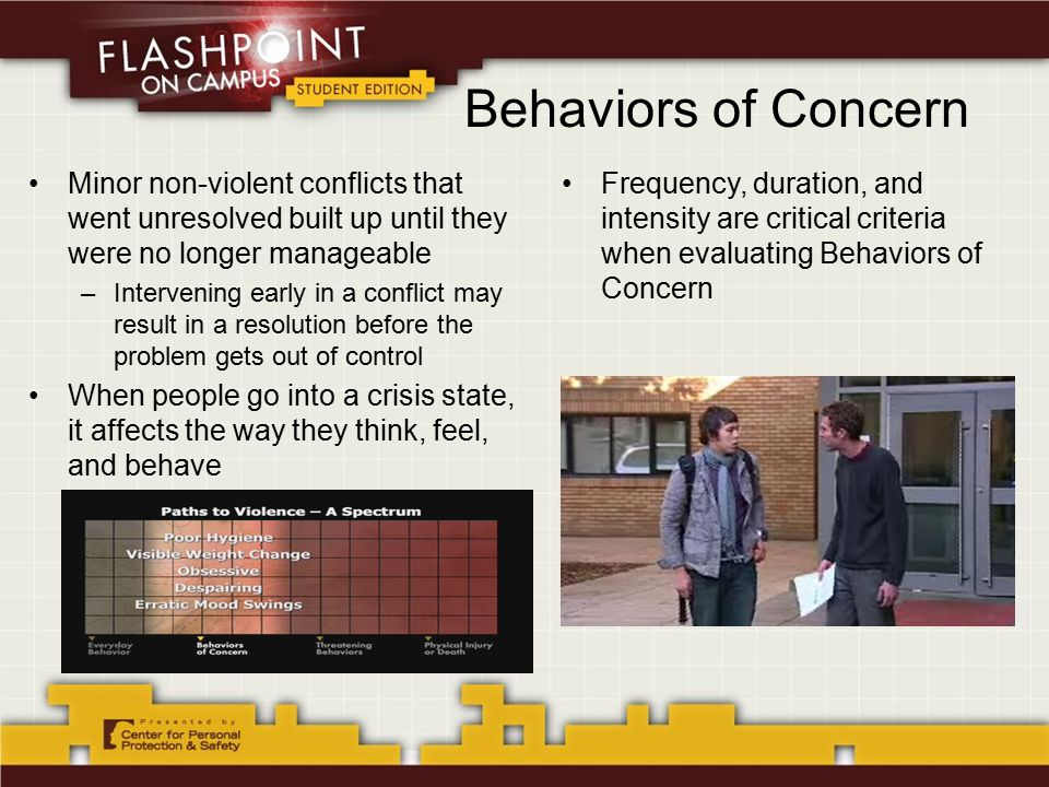 Behaviors of Concern Minor non-violent conflicts that went unresolved built up until they were no longer manageable –Intervening early in a conflict may result in a resolution before the problem gets out of control When people go into a crisis state, it affects the way they think, feel, and behave Frequency, duration, and intensity are critical criteria when evaluating Behaviors of Concern