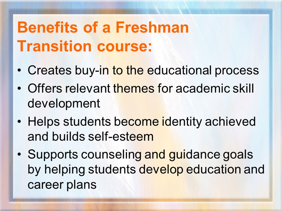 Step 1: Gather your resources Course Standards for Freshman Transition Classes www.freshmantransition.org The George Washington University's Freshman Transition Initiative