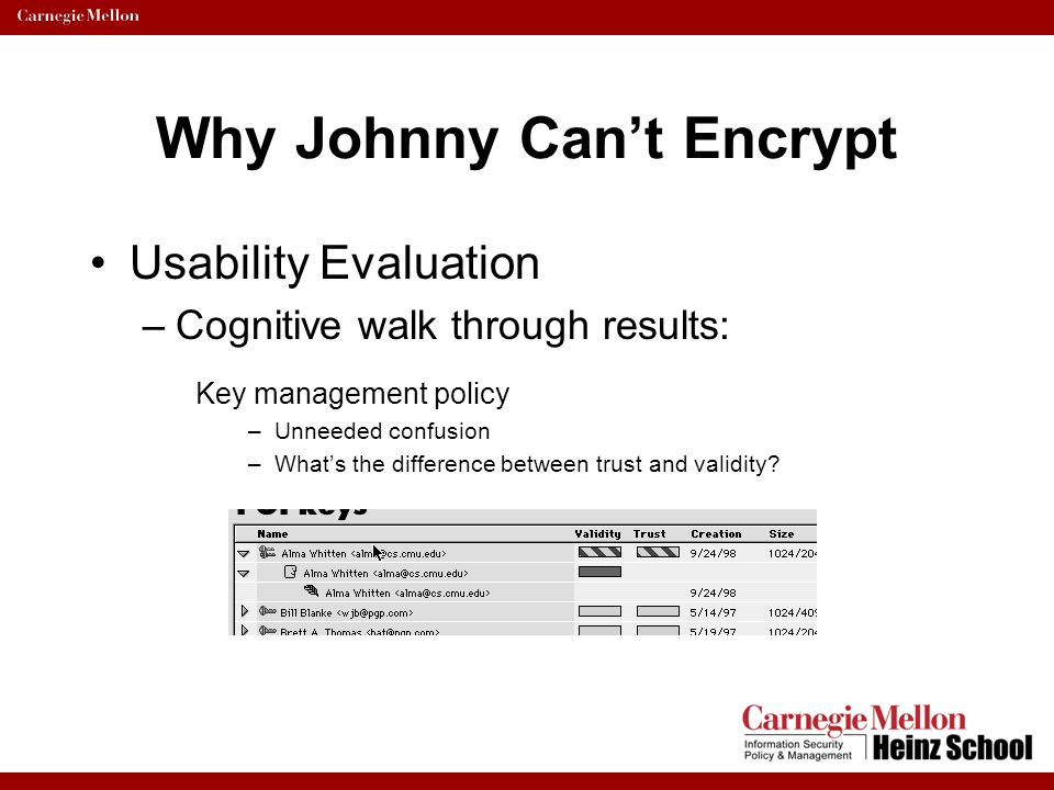 Why Johnny Can't Encrypt Usability Evaluation –Cognitive walk through results: Key management policy –Unneeded confusion –What's the difference betwee