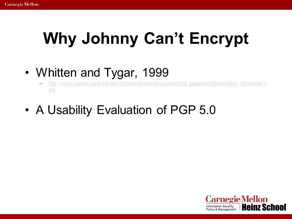 Why Johnny Can't Encrypt Keys listed as users