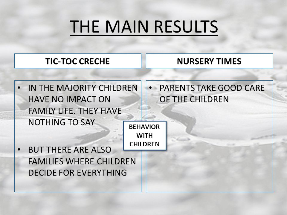 THE MAIN RESULTS TIC-TOC CRECHE IN THE MAJORITY CHILDREN HAVE NO IMPACT ON FAMILY LIFE.