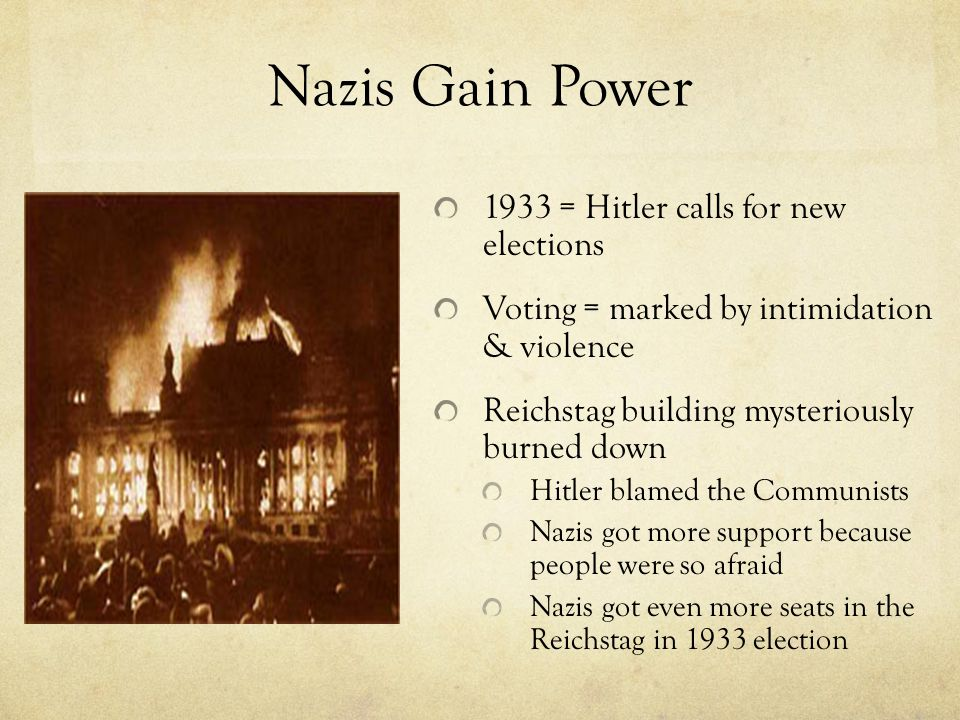 Nazis Gain Power 1933 = Hitler calls for new elections Voting = marked by intimidation & violence Reichstag building mysteriously burned down Hitler b