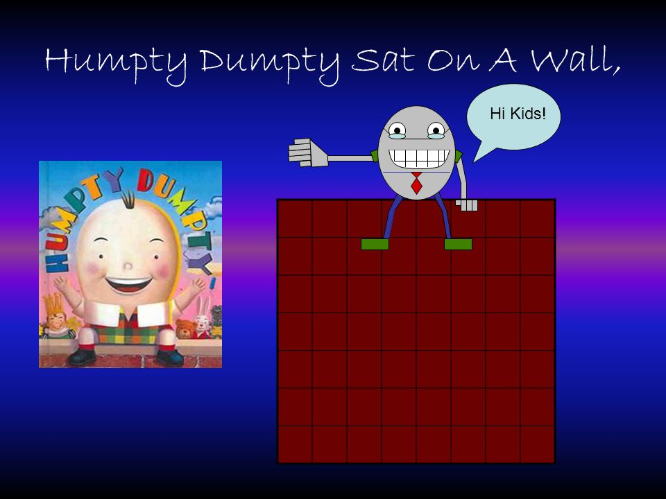 Humpty Dumpty Sat On A Wall, Hi Kids!