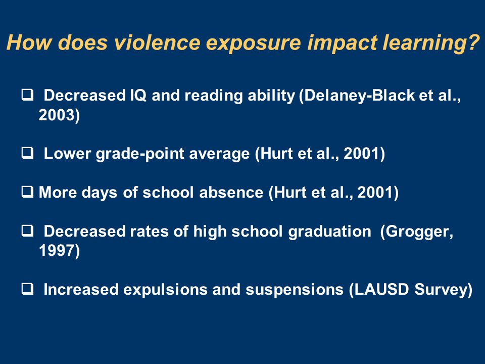 How does violence exposure impact learning.