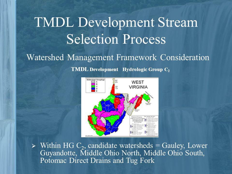 TMDL Development Stream Selection Process Watershed Management Framework Consideration  Within HG C 2, candidate watersheds = Gauley, Lower Guyandott