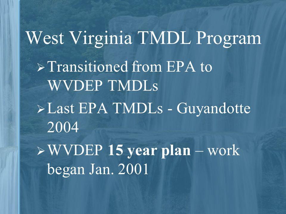 West Virginia TMDL Program  Transitioned from EPA to WVDEP TMDLs  Last EPA TMDLs - Guyandotte 2004  WVDEP 15 year plan – work began Jan.