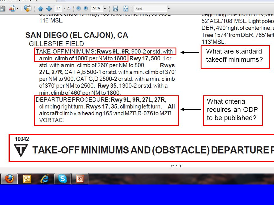 What are standard takeoff minimums? What criteria requires an ODP to be published?