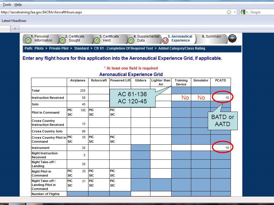 No AC 61-136 AC 120-45 BATD or AATD