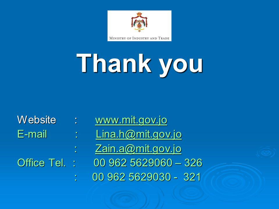 Thank you Website : www.mit.gov.jo www.mit.gov.jo E-mail : Lina.h@mit.gov.jo Lina.h@mit.gov.jo : Zain.a@mit.gov.jo : Zain.a@mit.gov.joZain.a@mit.gov.j
