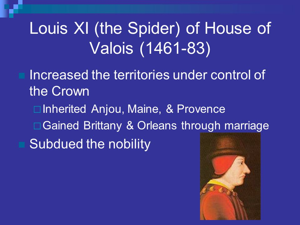 Louis XI (the Spider) of House of Valois (1461-83) Increased the territories under control of the Crown  Inherited Anjou, Maine, & Provence  Gained
