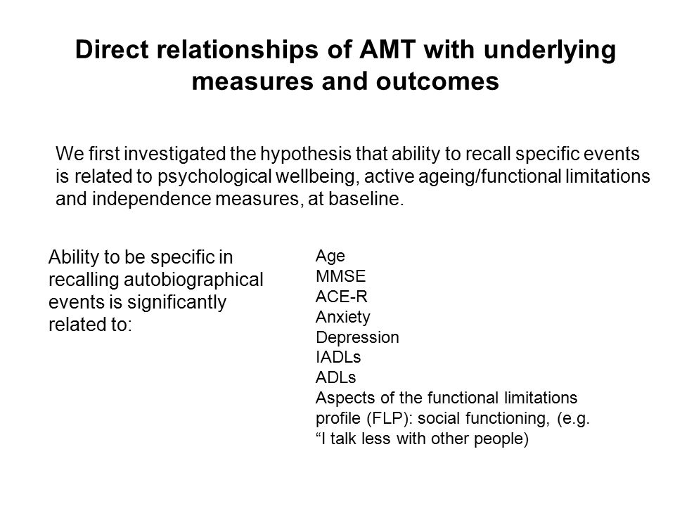 Question: Does a measure of autobiographical memory (the AMT) act as a mediator between basic cognitive performance and aspects of independence and functioning in a social environment.