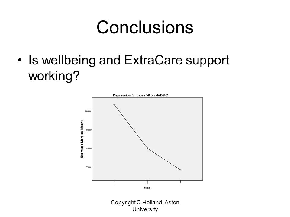 Take home points Overall domiciliary care costs are reliably less in EC than LA This does not take into account what is spent on generally supporting wellbeing.