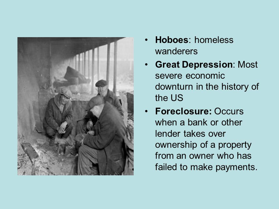 Hoovervilles Shantytowns, sprawling neighborhoods of shacks sprang up on the outskirts of town or in a public parks- named after President Hoover, who was blamed for the Great Depression