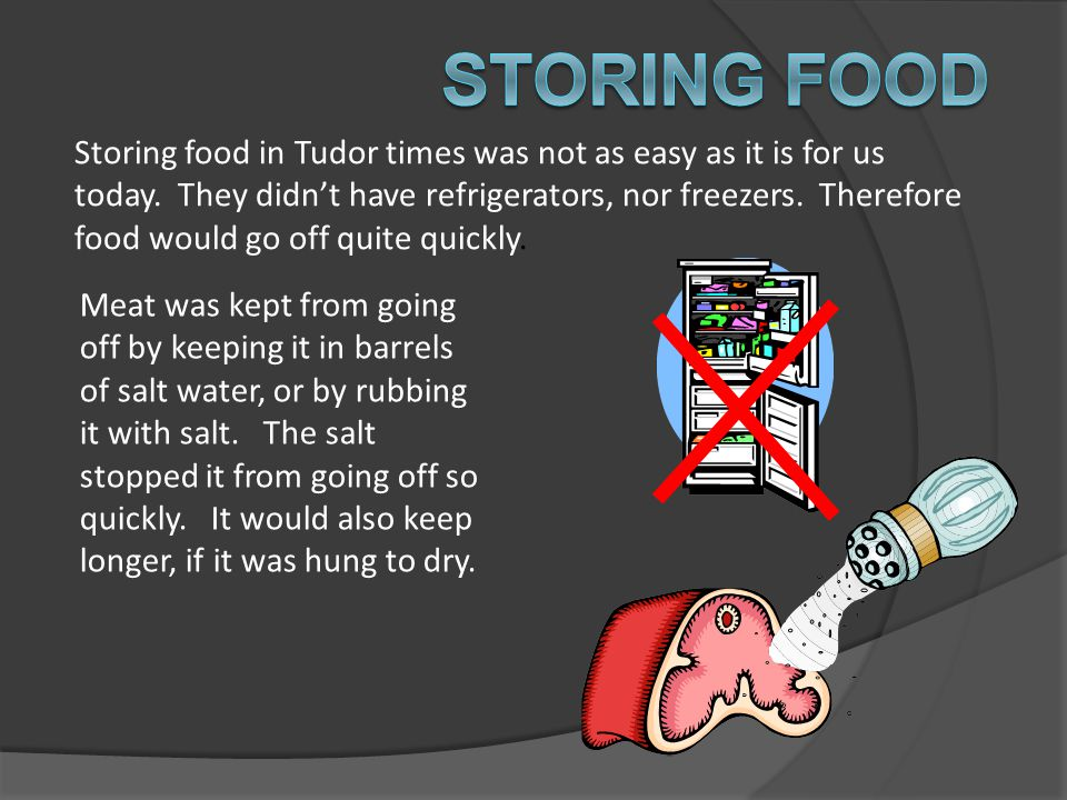 Storing food in Tudor times was not as easy as it is for us today. They didn't have refrigerators, nor freezers. Therefore food would go off quite qui