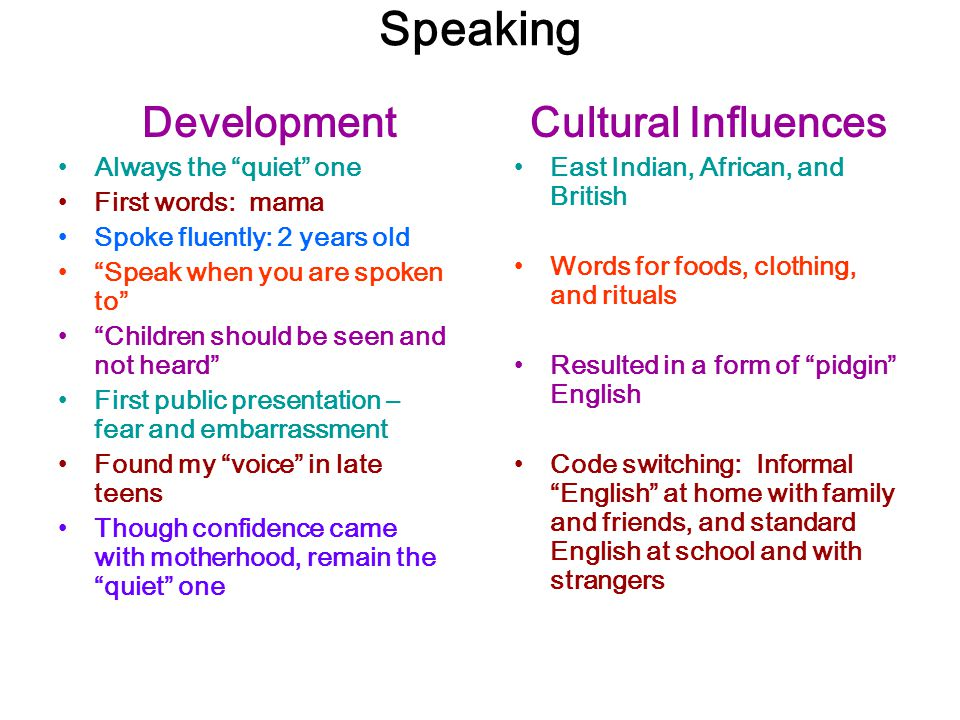 """Speaking Development Always the """"quiet"""" one First words: mama Spoke fluently: 2 years old """"Speak when you are spoken to"""" """"Children should be seen and"""