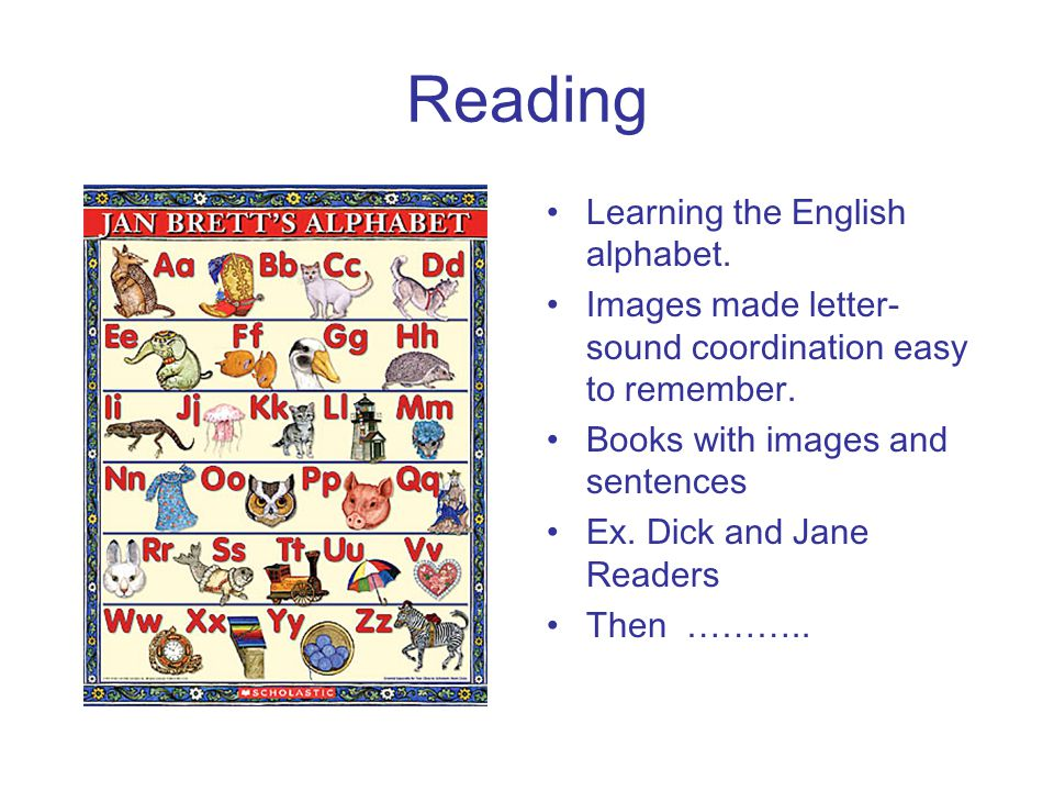 Reading Learning the English alphabet. Images made letter- sound coordination easy to remember. Books with images and sentences Ex. Dick and Jane Read
