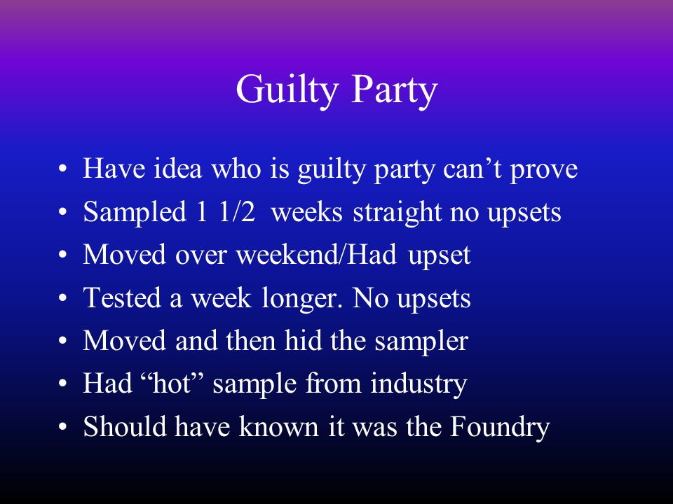 Guilty Party Have idea who is guilty party can't prove Sampled 1 1/2 weeks straight no upsets Moved over weekend/Had upset Tested a week longer.