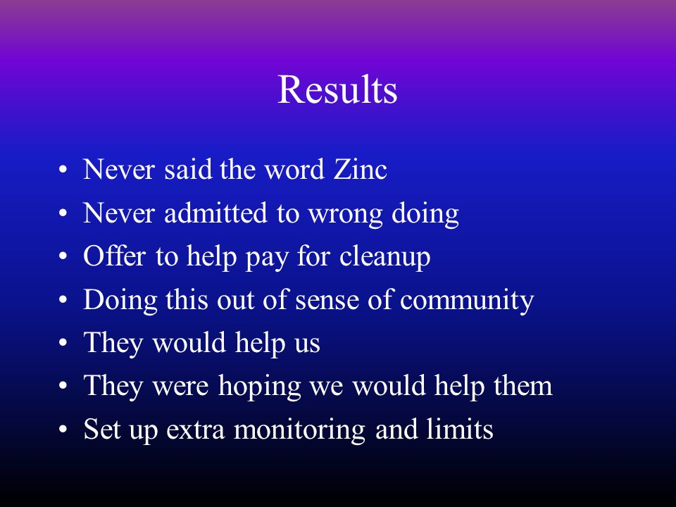 Results Never said the word Zinc Never admitted to wrong doing Offer to help pay for cleanup Doing this out of sense of community They would help us They were hoping we would help them Set up extra monitoring and limits