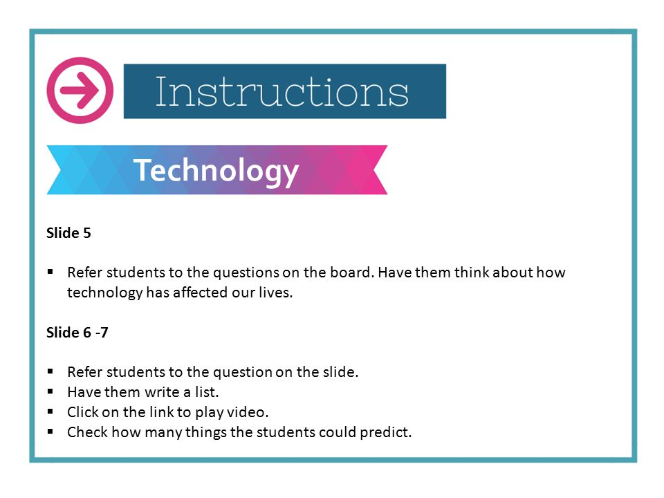 Technology Slide 5  Refer students to the questions on the board.