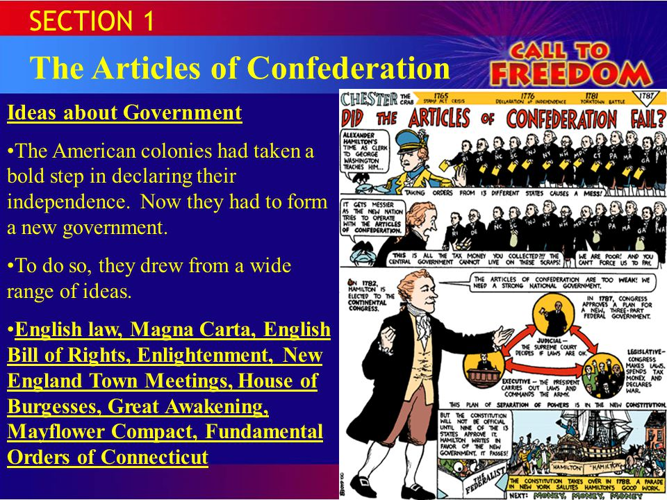 SECTION 1 The Articles of Confederation Ideas about Government The American colonies had taken a bold step in declaring their independence.