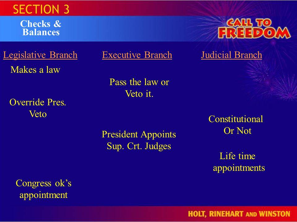 SECTION 3 Checks & Balances Legislative BranchExecutive BranchJudicial Branch Makes a law Pass the law or Veto it.