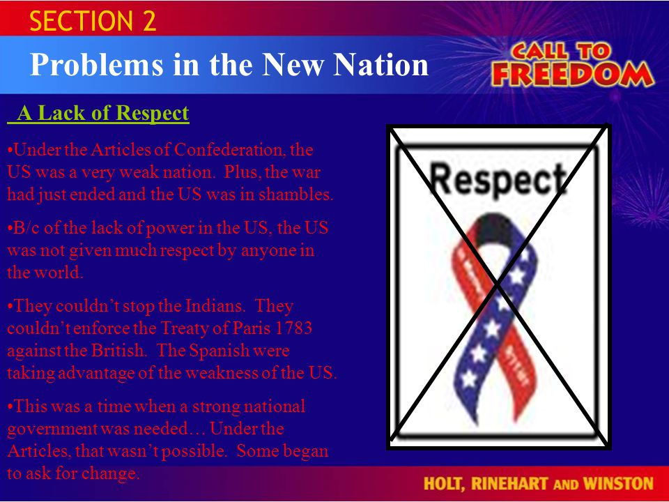 SECTION 2 Problems in the New Nation A Lack of Respect Under the Articles of Confederation, the US was a very weak nation.