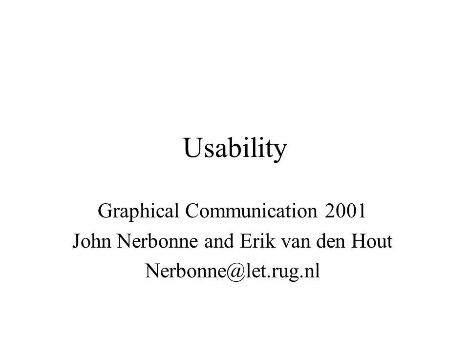 Usability Graphical Communication 2001 John Nerbonne and Erik van den Hout Nerbonne@let.rug.nl
