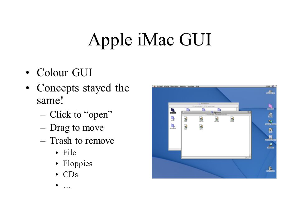 Apple iMac GUI Colour GUI Concepts stayed the same.