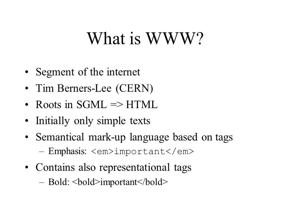 What is WWW.